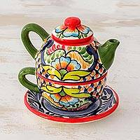Ceramic tea set, 'Dazzling Blossoms' (3 pieces) - Handcrafted Floral Ceramic Tea Set for One from El Salvador