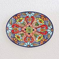 Ceramic serving platter, 'Floral Banquet' - Handcrafted Floral Ceramic Colorful Oval Serving Platter