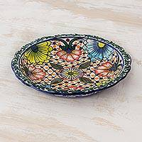 Ceramic serving bowl, 'Hacienda Hostess' - Handcrafted Floral Ceramic Shallow Serving Bowl