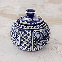 Ceramic sugar bowl, 'Salvadoran Bluebells' - El Salvador Handcrafted Blue and White Ceramic Sugar Bowl