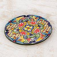 Ceramic luncheon plate, 'Ahuachapan Flowers' - El Salvador Artisan Hand Crafted Ceramic Plate