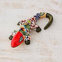 Ceramic figurine, 'Gecko Fiesta' - Colorful Handcrafted Ceramic Gecko Figurine from El Salvador