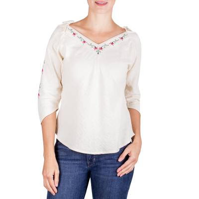 a4973a7ccda619 Cotton blouse, 'Flowers from El Salvador' - Women's Cotton Blouse Hand  Embroidered Floral