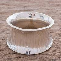 Sterling silver band ring, 'Corset' - Sterling Silver Band Ring from Guatemala