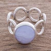 Chalcedony cocktail ring, 'Calm Sky' - Circle Motif Chalcedony Cocktail Ring from Guatemala
