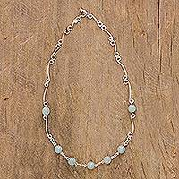 Jade link necklace, 'Circle of Love' - 925 Sterling Silver and Jade Necklace from Guatemala