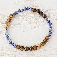 Multi-gemstone beaded stretch bracelet, 'Sky and Earth' - Tiger's Eye Sodalite and Jasper Bracelet from Guatemala