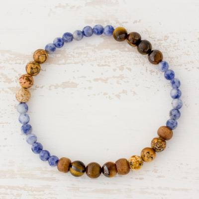 c6e5d1977a326 Tiger's Eye Sodalite and Jasper Bracelet from Guatemala, 'Sky and Earth'
