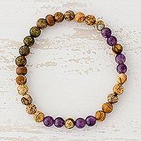 Multi-gemstone beaded stretch bracelet, 'Beauty of the Earth' - Tiger's Eye Amethyst and Jasper Bracelet from Guatemala