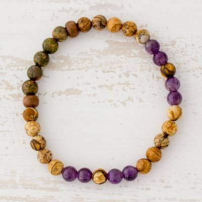 Multi-gemstone beaded stretch bracelet, 'Beauty of the Earth' - Tiger's Eye Amethyst and Jasper Bracelet from Guatemala