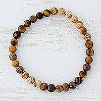 Tiger's eye and jasper beaded stretch bracelet, 'Earthy Soul' - Tiger's Eye Jasper and Pinewood Bracelet from Guatemala