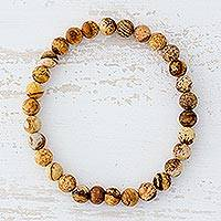 Jasper beaded stretch bracelet, 'Hopeful Nature' - Natural Jasper Beaded Stretch Bracelet from Guatemala