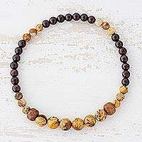 Jasper and garnet beaded stretch bracelet, 'Brown Sugar' - Natural Jasper and Garnet Beaded Bracelet from Guatemala