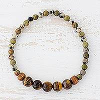 Multi-gemstone beaded stretch bracelet, 'Amazing Arrangement' - Tiger's Eye Unakite and Jasper Bracelet from Guatemala
