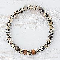 Dalmatian jasper beaded stretch bracelet,