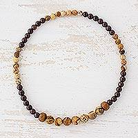 Jasper and garnet beaded stretch anklet,