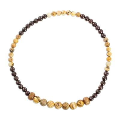Jasper and Garnet Beaded Stretch Anklet from Guatemala