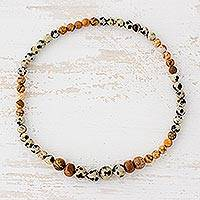 Jasper beaded stretch anklet,