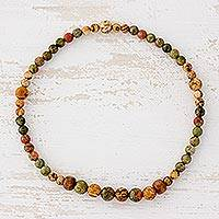 Jasper and unakite beaded stretch anklet, 'Colors of the Jungle' - Jasper and Unakite Beaded Stretch Anklet from Guatemala