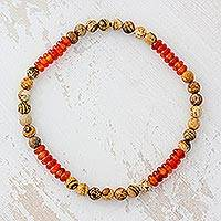 Jasper and agate beaded stretch anklet, 'Sun-Kissed Earth' - Jasper and Agate Beaded Stretch Anklet from Guatemala