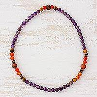 Multi-gemstone beaded stretch anklet, 'Colorful Revolutions' - Multi-Gemstone Beaded Stretch Anklet from Guatemala