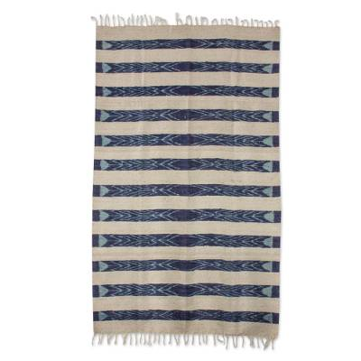 Striped Wool Area Rug In Navy And Ivory 4x6 From Guatemala Jasper Inspiration