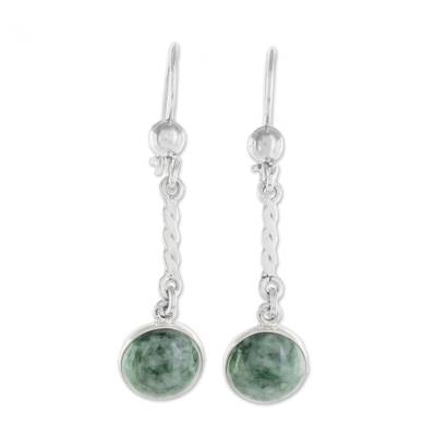Jade dangle earrings, 'Drops of Hope' - Sterling Silver Green Jade Dangle Earrings from Guatemala