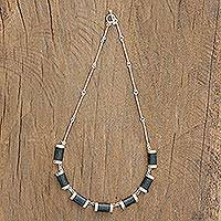 Jade pendant necklace, 'Mayan Sugarcane' - Jade and Sterling Silver Pendant Necklace from Guatemala