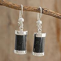 Jade dangle earrings, 'Mayan Sugarcane' - Natural Jade and Silver Dangle Earrings from Guatemala