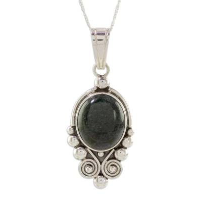 Jade pendant necklace, 'Beautiful Paola' - Natural Jade and Silver Pendant Necklace from Guatemala