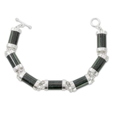 Jade link bracelet, 'Mayan Sugarcane' - Jade and Sterling Silver Link Bracelet from Guatemala