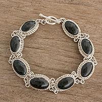 Jade link bracelet, 'Natural Bond' - Handcrafted Oval Jade Link Bracelet from Guatemala