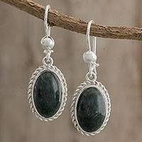 Jade dangle earrings, 'Natural Bond' - Handcrafted Oval Jade Dangle Earrings from Guatemala