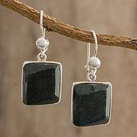 Jade dangle earrings, 'Natural Glisten' - Handcrafted Natural Jade Dangle Earrings from Guatemala