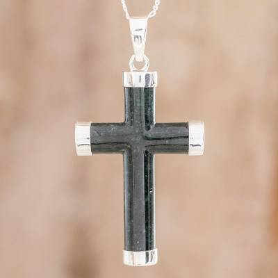 Jade pendant necklace, 'Dark Green Cross' - Handcrafted Jade Cross Pendant Necklace from Guatemala