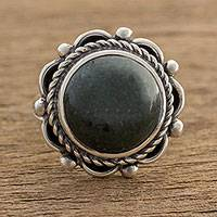 Jade cocktail ring, 'Ancient Sunrise in Dark Green' - Dark Green Jade Cocktail Ring from Guatemala