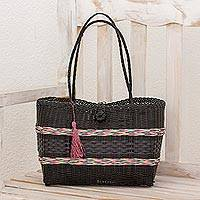 Recycled plastic tote, 'Rainbow in the Dark' - Handwoven Recycled Plastic Tote in Black from Guatemala