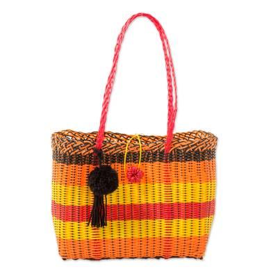 Handcrafted Recycled Plastic Tote Handbag from Guatemala