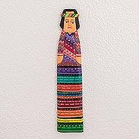 Wood wall art, 'Colorful Cheer' - Hand Crafted Wood Woman Wall Art with Colorful Dress