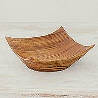 Wood centerpiece, 'Fruits of the Land' - Natural Wood Centerpiece with Modern Square Shape