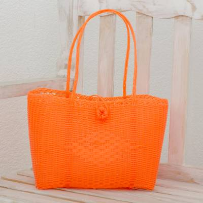 Recycled plastic tote, 'Undeniable Beauty in Tangerine' - Handwoven Recycled Plastic Tote in Tangerine from Guatemala