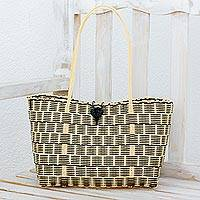 Recycled plastic tote, 'Delightful Day in Black' - Recycled Plastic Tote in Black and Cornsilk from Guatemala