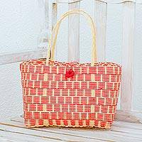Recycled plastic tote, 'Delightful Day in Strawberry' - Handwoven Recycled Plastic Tote in Strawberry and Cornsilk