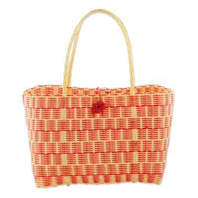Novica Recycled plastic tote, Pleasing Combination