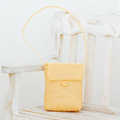 Recycled plastic sling, 'Casual Beauty in Cornsilk' - Recycled Plastic Sling in Cornsilk from Guatemala