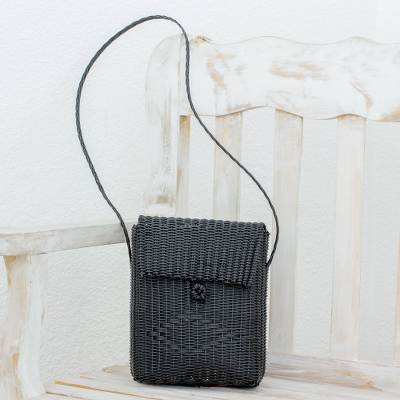 Recycled plastic sling, 'Casual Beauty in Black' - Handcrafted Recycled Plastic Sling in Black from Guatemala