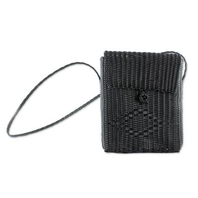 Handcrafted Recycled Plastic Sling in Black from Guatemala