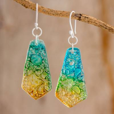 Recycled CD dangle earrings, 'Vibrant Ocean' - Handmade Recycled CD Dangle Earrings from Guatemala