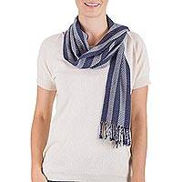 Rayon scarf, 'Striped Sky' - Hand Woven Blue Striped Rayon Wrap Scarf