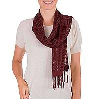 Rayon scarf, 'Maroon Bliss' - Hand Woven Maroon Rayon Wrap Scarf from Guatemala